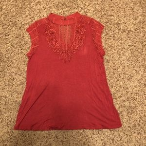 Daytrip Pink Sleeveless Top with Lace Applique